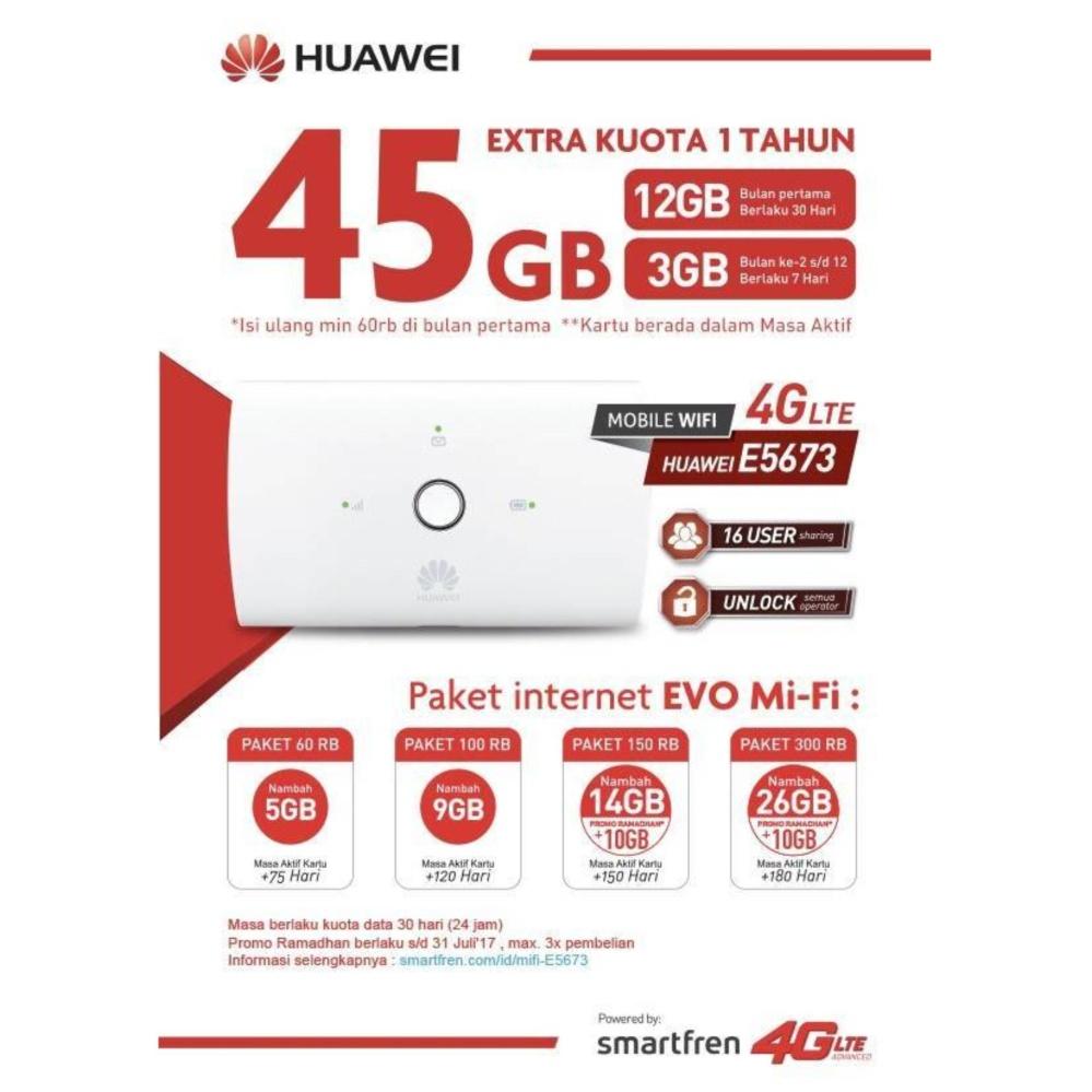 Beli Huawei E5673 Mifi Modem Wifi Router 4G Unlock Free Smartfren 45Gb 1Thn Nyicil