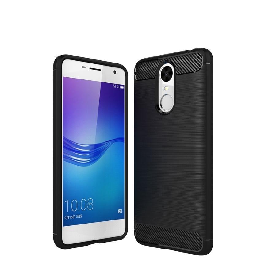 Huawei Enjoy 6 Brushed Carbon Fiber Tekstur Shockproof TPU Protective Cover Case (Hitam)-Intl