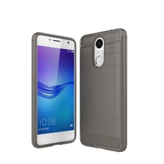 Huawei Enjoy 6 Brushed Carbon Fiber Tekstur Shockproof TPU Pelindung Cover (Abu-abu)-Intl