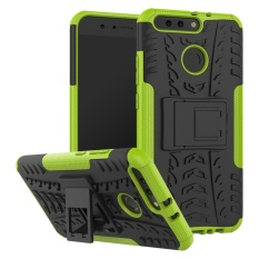 Huawei Honor V9 Case, Kunpon Tire Kickstand Stand Hybrid Tough Rugged Armor Outdoor Style Dual Layer Slim Fit PC + TPU Protective Shell Back Case Cover for Huawei Honor V9 / Honor 8 Pro - Green