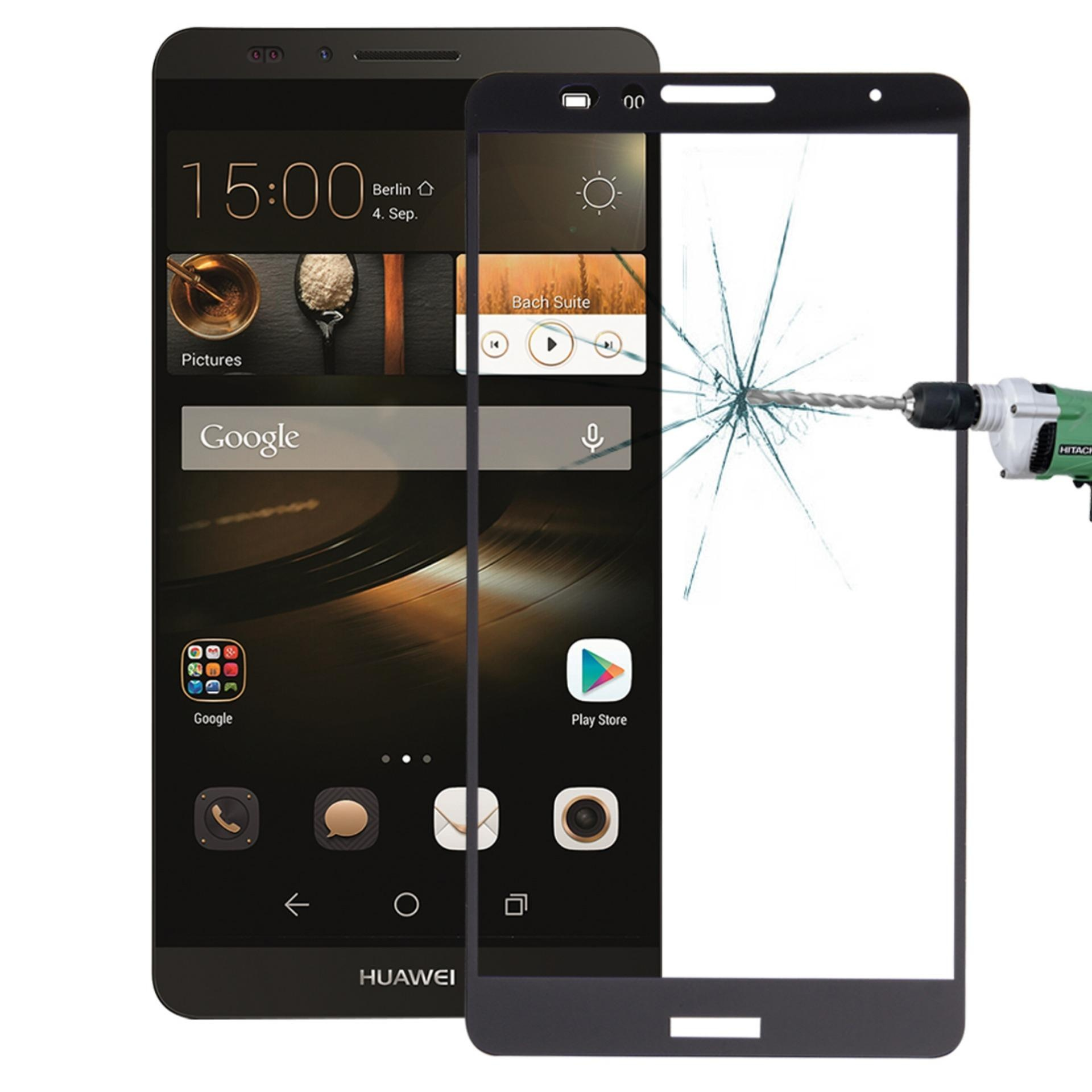 Huawei Mate 7 0.26mm 9 H Kekerasan Permukaan Tahan Ledakan Silk-screen Tempered Glass Full Screen Film (hitam) -Intl