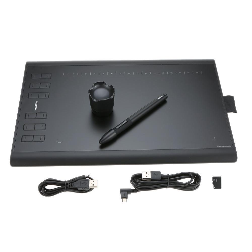 Ulasan Lengkap Tentang Huion Grafis Menggambar Tablet Micro Usb Baru 1060 Plus Dengan Built In 8G Kartu Memori 12 Tombol Ekspres Lukisan Digital Isi Ulang Pena Internasional
