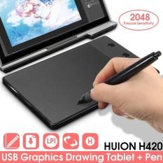 Huion H420 Pro Pad Graphics Drawing Writing USB Art Tablet Board Mat Digital Pen - intl