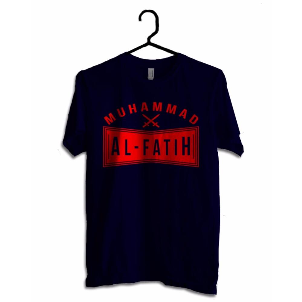 Hujjah Kaos Islam/Muslim Pria dan Wanita - Al Fatih - Kaos Biru Dongker Sablon Merah