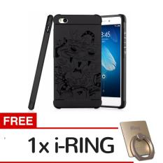 Hunter Soft Silikon TPU Shockproof Armor Dragon Case Cover For Xiaomi Redmi 4A - Black + Gratis iRing