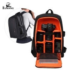 HUWANG Large Padded Camera Bag Outdoor Photography Travel Backpack Shock-proof Water-resistant with Rain Cover Tripod Holder Laptop Pocket for Nikon Canon Sony DSLR Cameras - intl