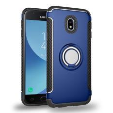 Hybrid Armor Case Casing untuk Samsung Galaxy J7 2017 J730 J7 Pro Anti-slip Carbon Fiber TPU + PC Kembali Penutup dengan Cincin Mencengkeram/Stand Holder