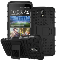Hybrid Dual Layer Tough Heavy Duty Perlindungan Shockproof Protective Kickstand Cover Case untuk HTC DESIRE 526g/526g +/526/326g Case (Hitam) -Intl