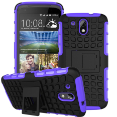 Hybrid Dual Layer Tough Heavy Duty Protetion Shockproof Protective  Kickstand Cover Case for HTC Desire 526G/ 526G+/526/326G Case (Purple) - intl