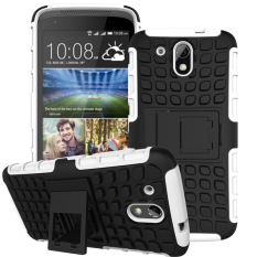 Hybrid Dual Layer Tough Heavy Duty Perlindungan Shockproof Protective Kickstand Cover Case untuk HTC DESIRE 526g/526g +/526/326g Case (Putih) -Intl