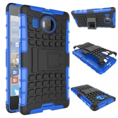 Hybrid Dual Layer Tough Heavy Duty Protetion Shockproof Protective Kickstand Cover Case for Microsoft Nokia Lumia 950 XL (Blue) - intl