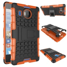 Hybrid Dual Layer Tough Heavy Duty Perlindungan Shockproof Protective Kickstand Cover Case untuk Microsoft Nokia Lumia 950 XL (Orange) -Intl