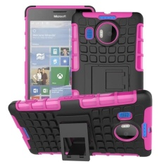 Hybrid Dual Layer Tough Heavy Duty Perlindungan Shockproof Protective Kickstand Cover Case untuk Microsoft Nokia Lumia 950 XL (pink) -Intl