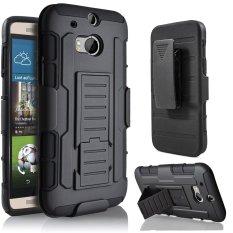 Hybrid Full Perlindungan Perlindungan Dual Layer Holster Case dengan Kickstand dan Mengunci Belt Klip Putar untuk HTC One M8 -Intl