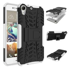 Hybrid Kickstand Karet Kasar Armor Hard PC + TPU Case untuk HTC Desire 728 (Hitam