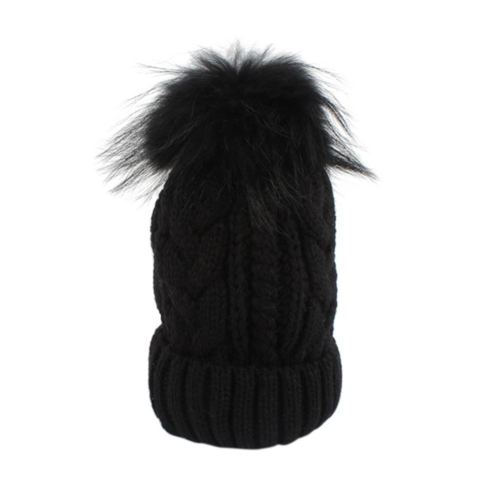 Ibu Musim Dingin Baby Crochet Rajutan Hat Fur Bola Pom Beanies Skull Topi untuk Anak-anak Dewasa Warna: Hitam Spesifikasi: Baby-Intl Hanyu