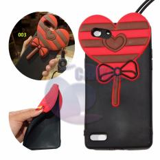 Icantiq Case 3D Oppo A33 Neo 7 Silicone 3D Lollipop Candy Love Rush Sugar + Necklace Kalung Jelly Case / Silicone / Soft Case /  Silicone Case 4D Unik / Case Oppo A33 Neo 7 / Silicone Case 3D  Lolipop - Merah / Red