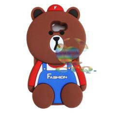 Icantiq Case 3D Samsung Galaxy J5 Prime Silicone 3D Brown Bear Clothes Overall Design FASHION / Case Boneka Baju Beruang / Casing Samsung Boneka Unik  - Bear Brown Line FASHION