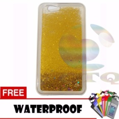 Icantiq Case Oppo F1S Selfie Expert A59 Softcase Water Glitter Soft Back Case / Sillicone Blink Blink Gliter / Casing HP Glitter Skin Case / Jelly case / Case  Oppo F1S Selfie Expert A59 + Free Water Proof Case / Ultrathin - Gold / Emas