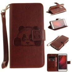 Imprint 3D Efek Panda Wallet Stand Cover Kulit untuk Xiaomi Redmi Note 4-Cokelat-Intl