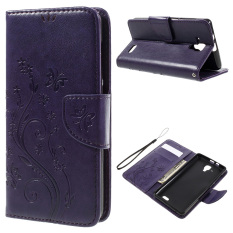 Imprint Flower Butterfly Flip Leather Phone Case for Lenovo A536 (Purple) - intl