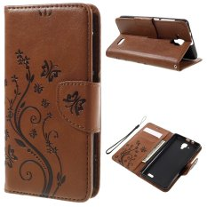 Imprint Flower Butterfly Leather Wallet Case for Lenovo A536 (Brown) - intl