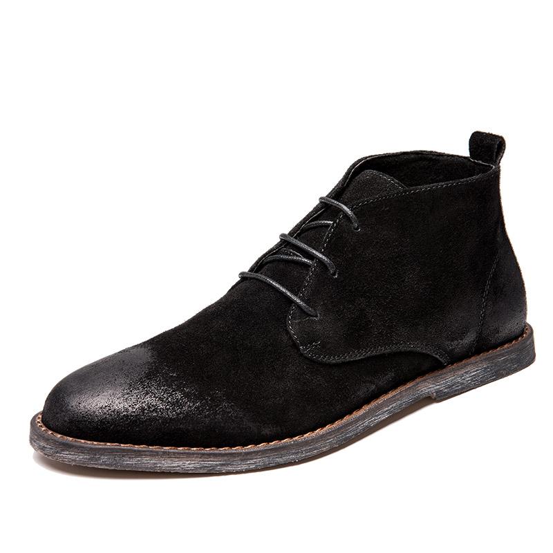 Dr. Martens Kulit Sepatu Engkel Tinggi Pria Inggris (Gosok Kokas Hitam)