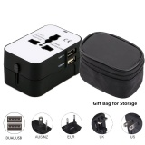 Beli International All In One Universal Travel Adaptor Wall Charger Adaptor Adaptor Ac Charger Dual Usb Port 2 1A Untuk Amerika Serikat Uk Eu Aus Hitam Dan Putih Dengan Hadiah Casing Intl Cicilan