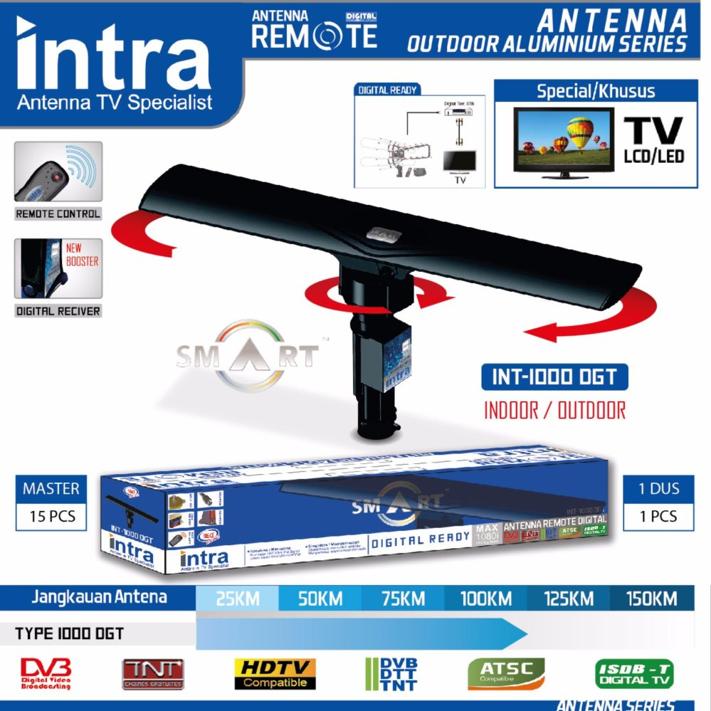 INTRA Antena TV Outdoor - Smart Digital Antena ( HD 1080p Resolution ) INT-1000 DG