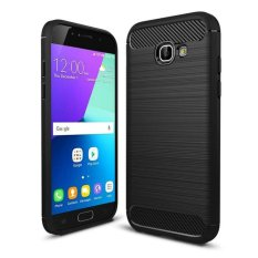 iPaky Carbon Fiber Shockproof Hybrid Back Case for Samsung A720 / A7 2017 - Black