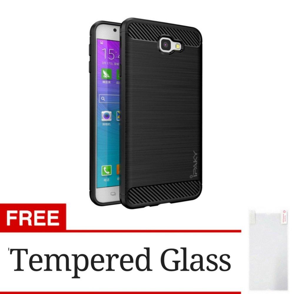 iPaky Carbon Fiber Shockproof Hybrid Back Case for Samsung Galaxy J7 Prime / On 7 2016 - Black + Gratis Tempered Glass