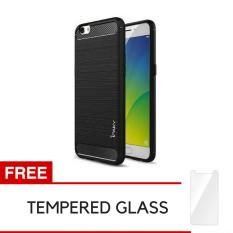 Rp 24.250 iPaky Carbon Fiber Shockproof Hybrid Back Case for VIVO Y55 - Black + Gratis Tempered GlassIDR24250. Rp 24.500