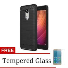 iPaky Carbon Fiber Shockproof Hybrid Case for Xiaomi Redmi Note 4X - Black + Gratis Tempered Glass