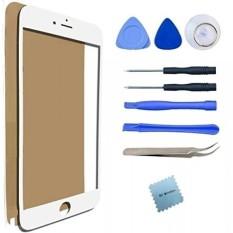IPhone 7 7 S Layar Penggantian Kaca Lensa Rusak Perbaikan Perlengkapan Stiker Perekat Pinset/Kain Pembersih Mikrofiber/ lensa (Putih) -Internasional