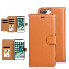 iPhone 7 Plus Case, TabPow Genuine Leather Wallet Case - Flip-Out 5 Card Slot Holder - Slim Fit For iPhone 7 Plus / iPhone 8 Plus (5.5 Inch), Tan Brown - intl