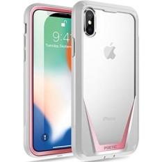 IPhone X Case, poetic Guardian [Menggaruk Tahan] [Perlindungan 360 Derajat] Penuh-Badan Kasar Bening Hibrida Bemper Case dengan Dibangun Di-Dalam Layar Pelindung untuk Apple iPhone X Merah Muda/Abu-abu-Internasional
