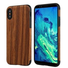 iPhone X Case,TabPow [Wooden][Shockproof][Drop Protection][Heavy Duty] Dual Layer Slim Hybrid Wood Case Cover For iPhone X - Dark Rosewood - intl