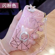 Selubung Ponsel Iphone8 Jepang atau Korea Selatan Bedak Mengkilap Selubung 7 Plus Batu Kristal Udara Perempuan