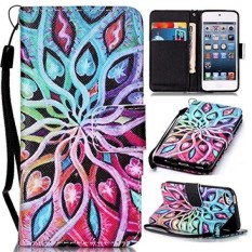 IPod Touch 5th 6th Generasi, Savyou IPod Case Stand Kredit Dompet Tempat Kartu PU Leather Slim Fit Cover untuk IPod Touch 5/6 Wrist Strap Magnetic Snap Closure-Intl