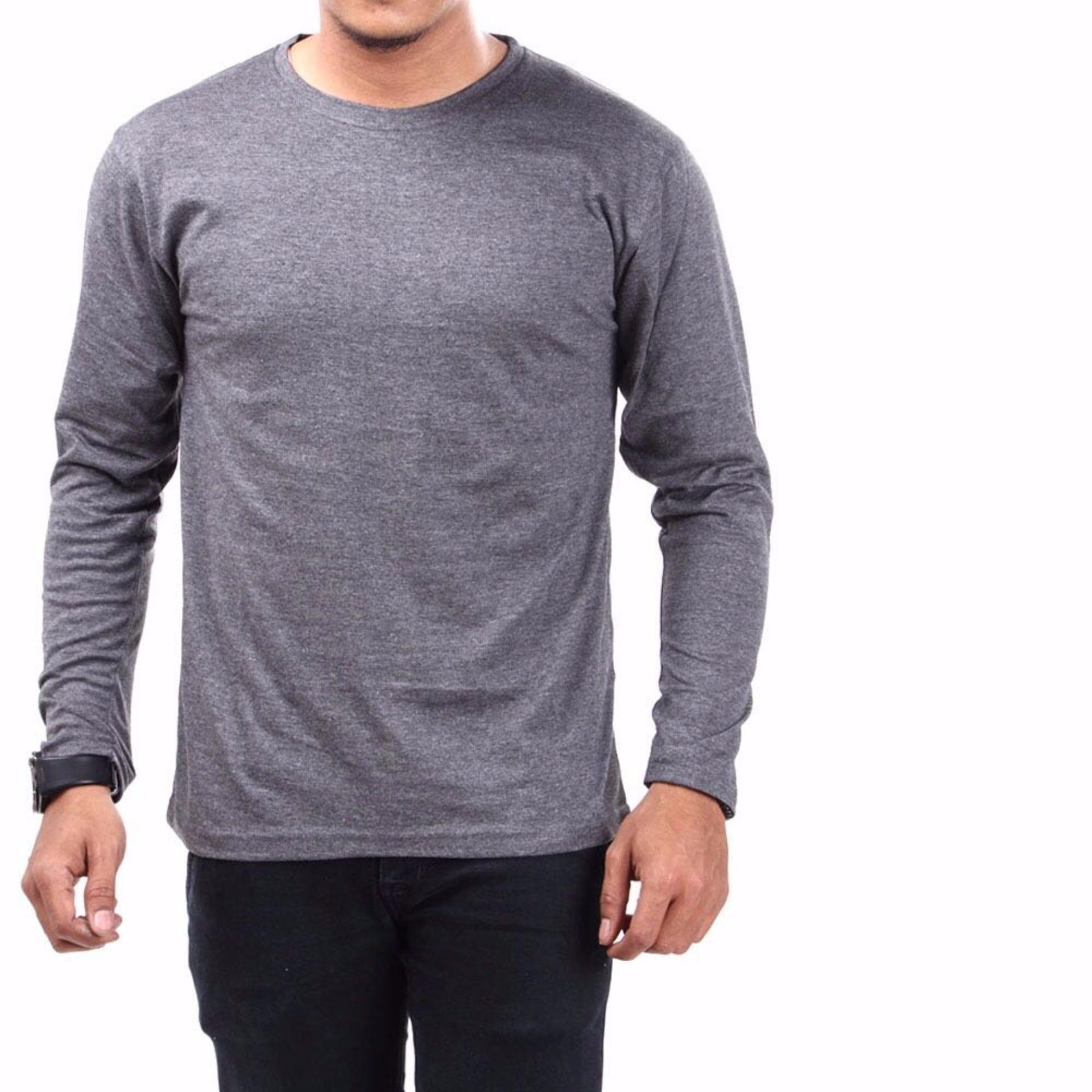 irfan Store95 - Kaos Polos Lengan Panjang O Neck - Abu Abu
