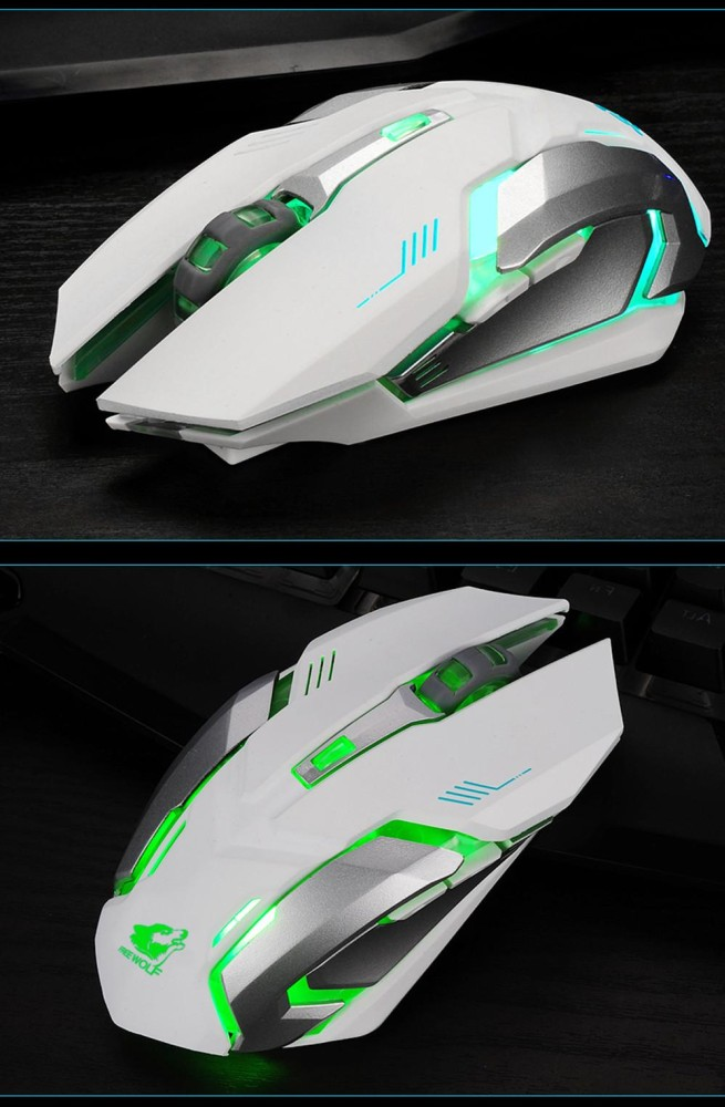 Isi Ulang X7 Wireless Silent LED Backlit USB Optical Ergonomis Gaming Mouse-Internasional