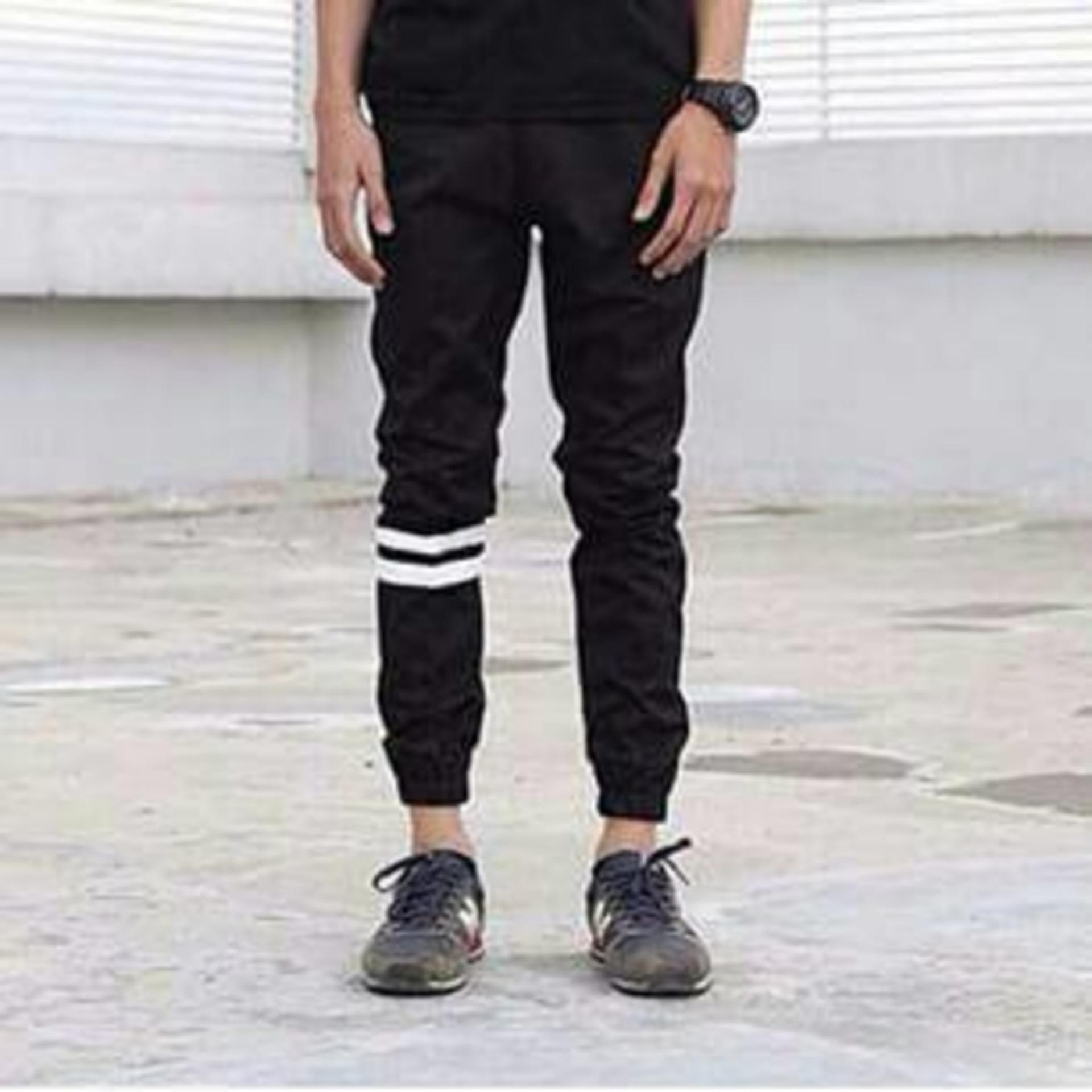 Beli Ispro Celana Pria Jogger Pants Hitam Strip Bestseller Cicilan