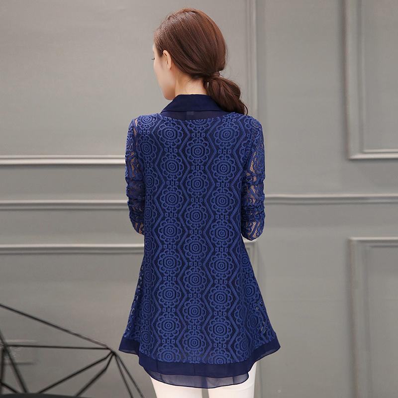 Jacepy/Jacepy Atasan Lengan Panjang Wanita Renda Aneka Warna (Biru (bagian tipis) (Spot sekarang mengirim)) baju wanita baju atasan kemeja wanita blouse wanita