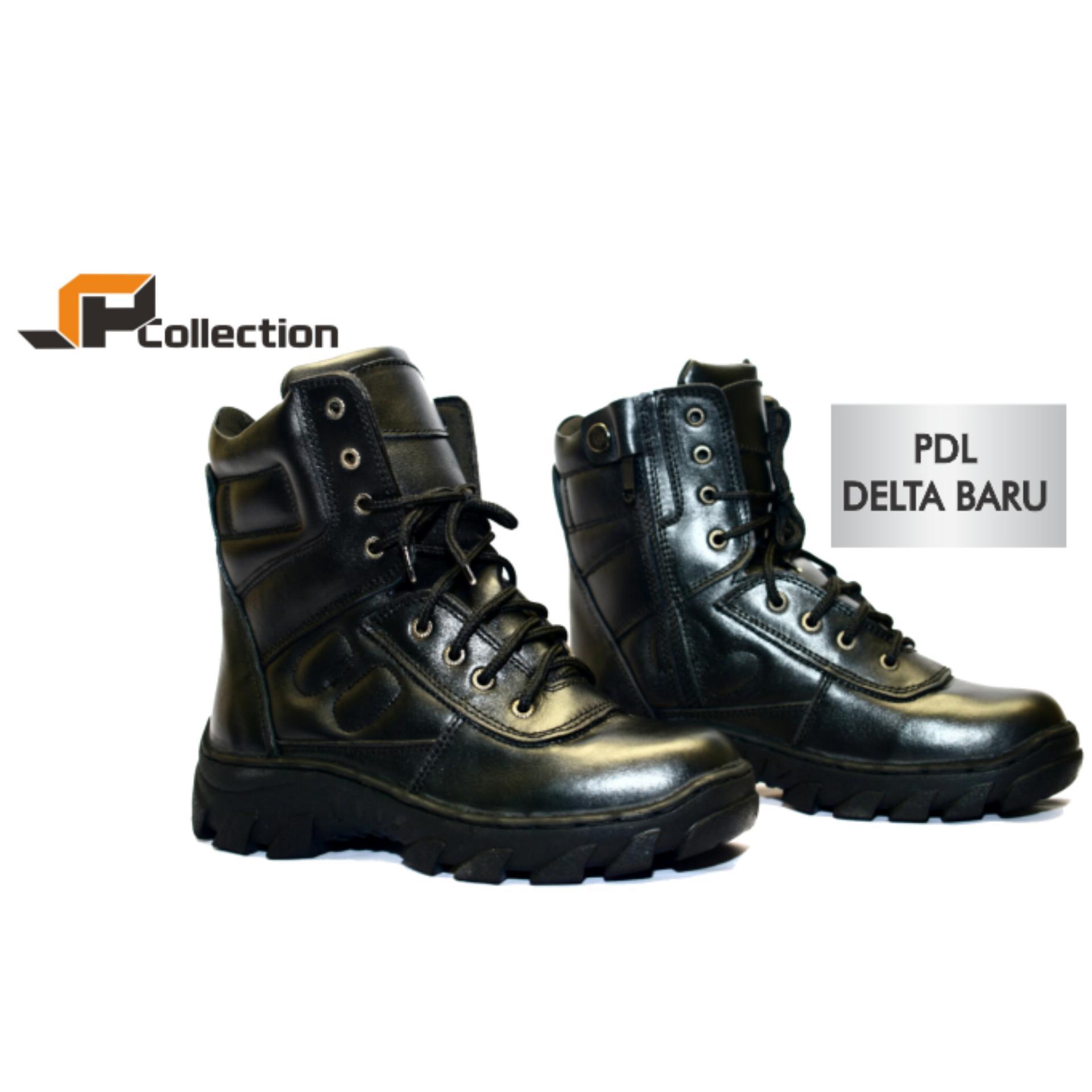 JAFERI Sepatu Boots PDL Delta Baru Warna Hitam Bahan Kulit Sapi Asli Cocok Untuk Dinas Lapangan, Untuk POLRI, TNI, Security, Damkar, Pertambangan, Cocok Untuk Biker, Touring, Hiking, Travelling, Dll