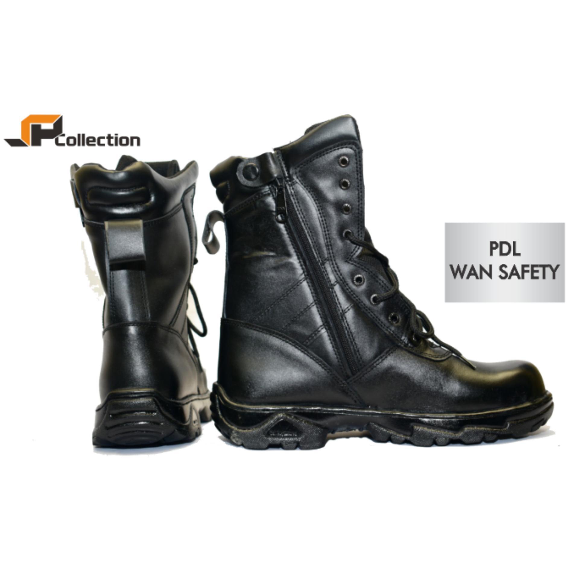 JAFERI Sepatu Boots PDL Wan Safety Warna Hitam Bahan Kulit Sapi Asli Sepatu Jatah TNI Polri Dengan Besi Pengaman, Cocok Juga Untuk Security, DAMKAR, Pertambangan, Dll