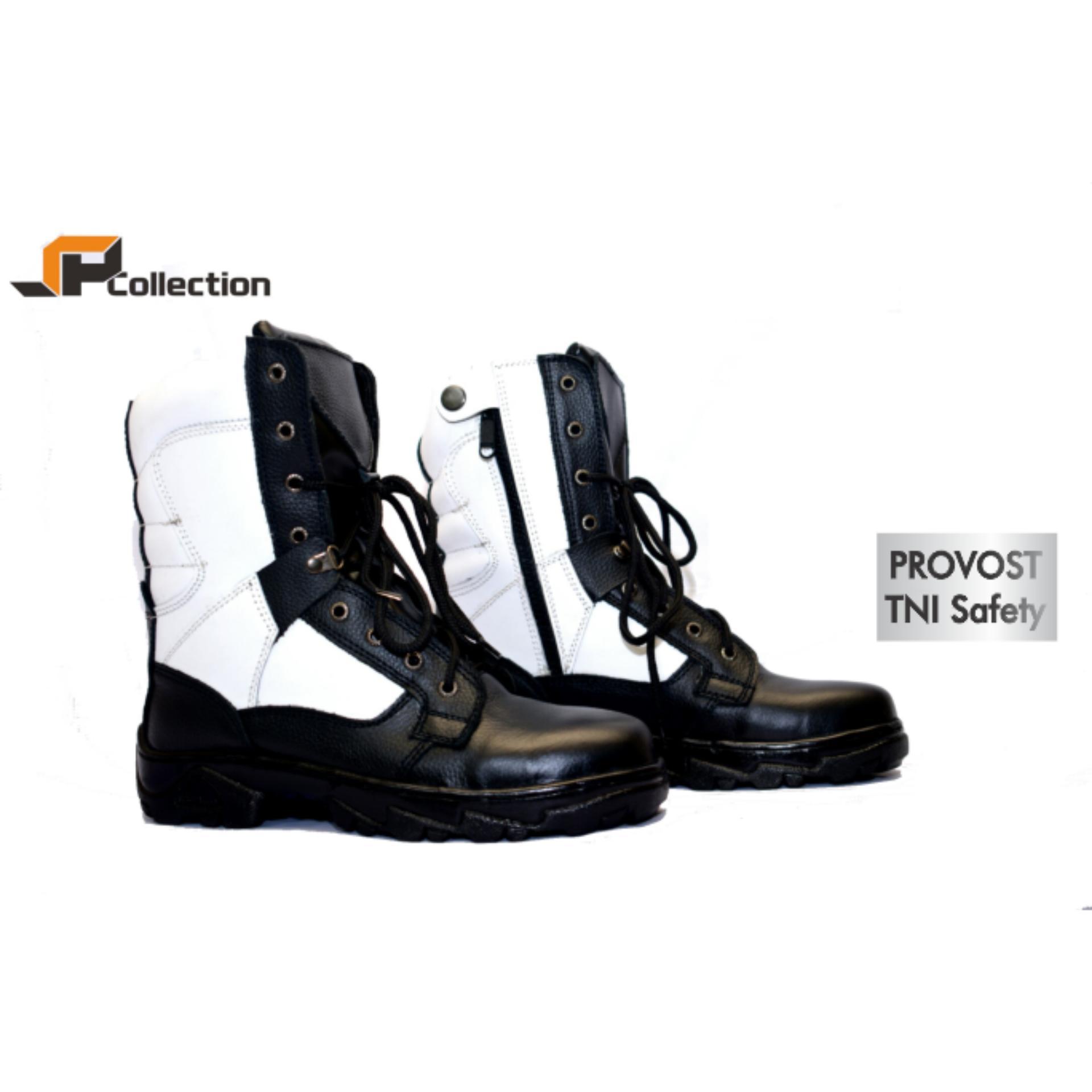 JAFERI Sepatu Boots Provost TNI Safety Warna Hitam-Putih Bahan Kulit Sapi Asli Dengan Besi Pengaman Di Depan