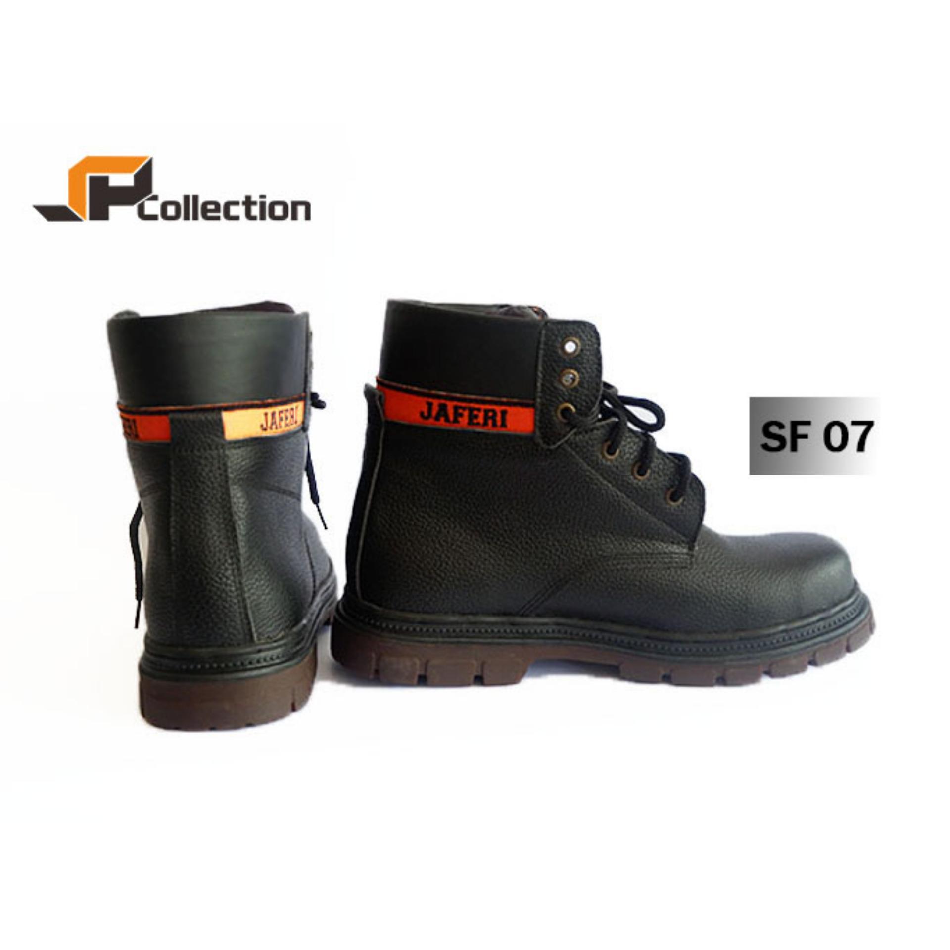 JAFERI Sepatu Boots SF 07 Warna Hitam Bahan Kulit Sapi Asli Safety Dengan Besi Pengaman Di Bagian Depan