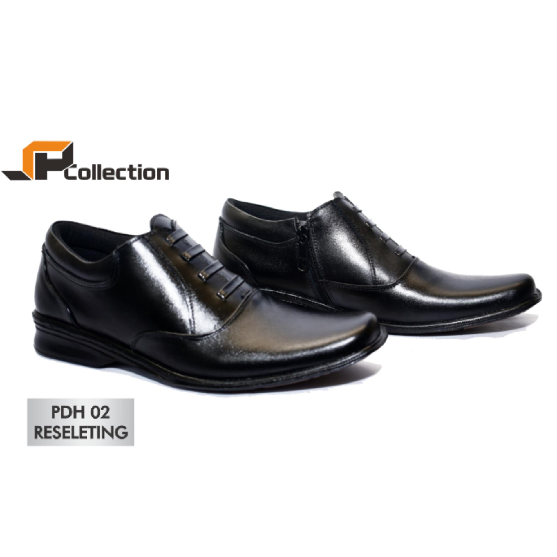 JAFERI Sepatu Formal PDH 02 Reseleting Warna Hitam Bahan Kulit Asli Cocok Untuk Dinas Harian POLRI, TNI, DISHUB, PNS, Karyawan, Guru, Dll