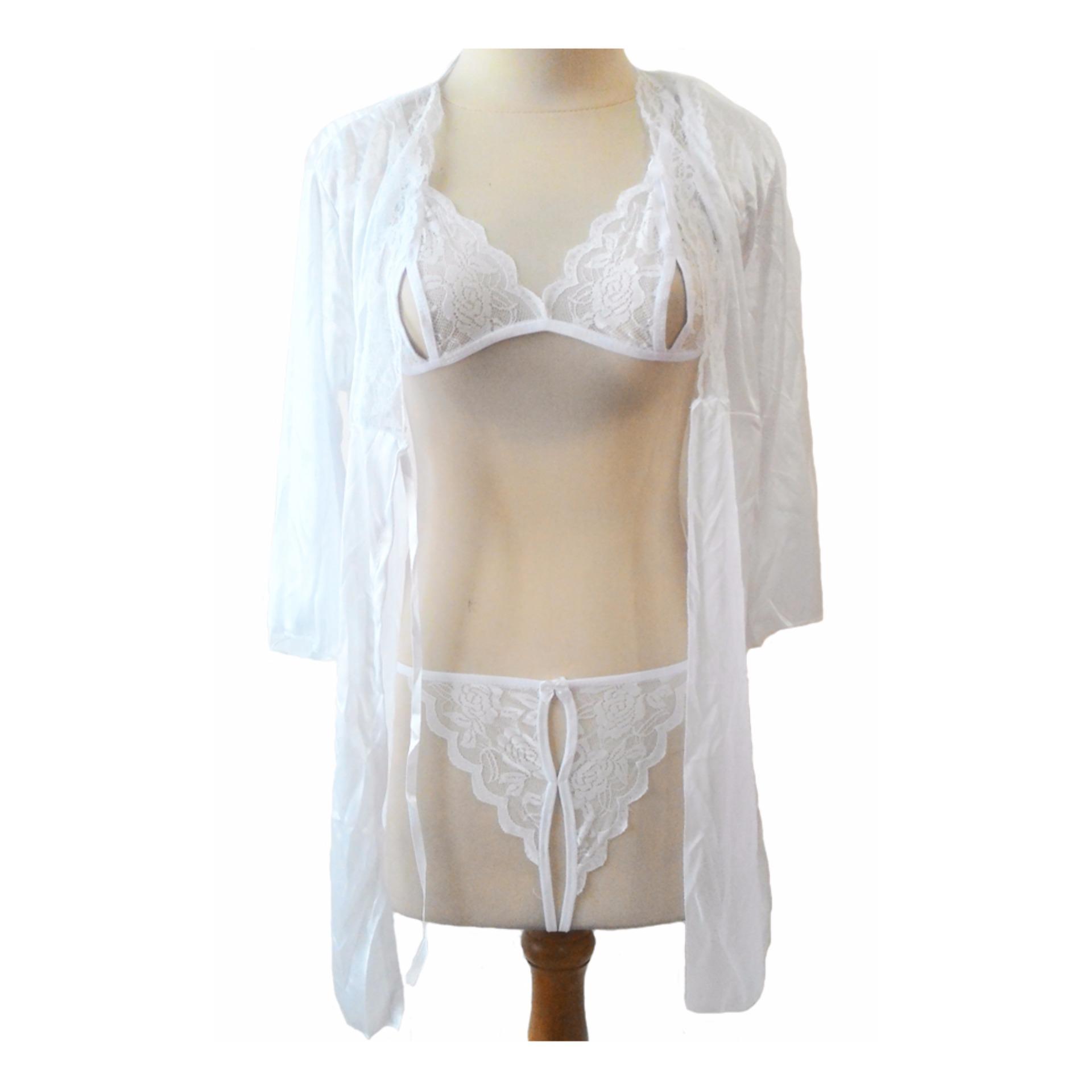 Spesifikasi Jakarta Lingerie Jld056 Fullset 3In1 Kimono White Open Crotch Paling Bagus