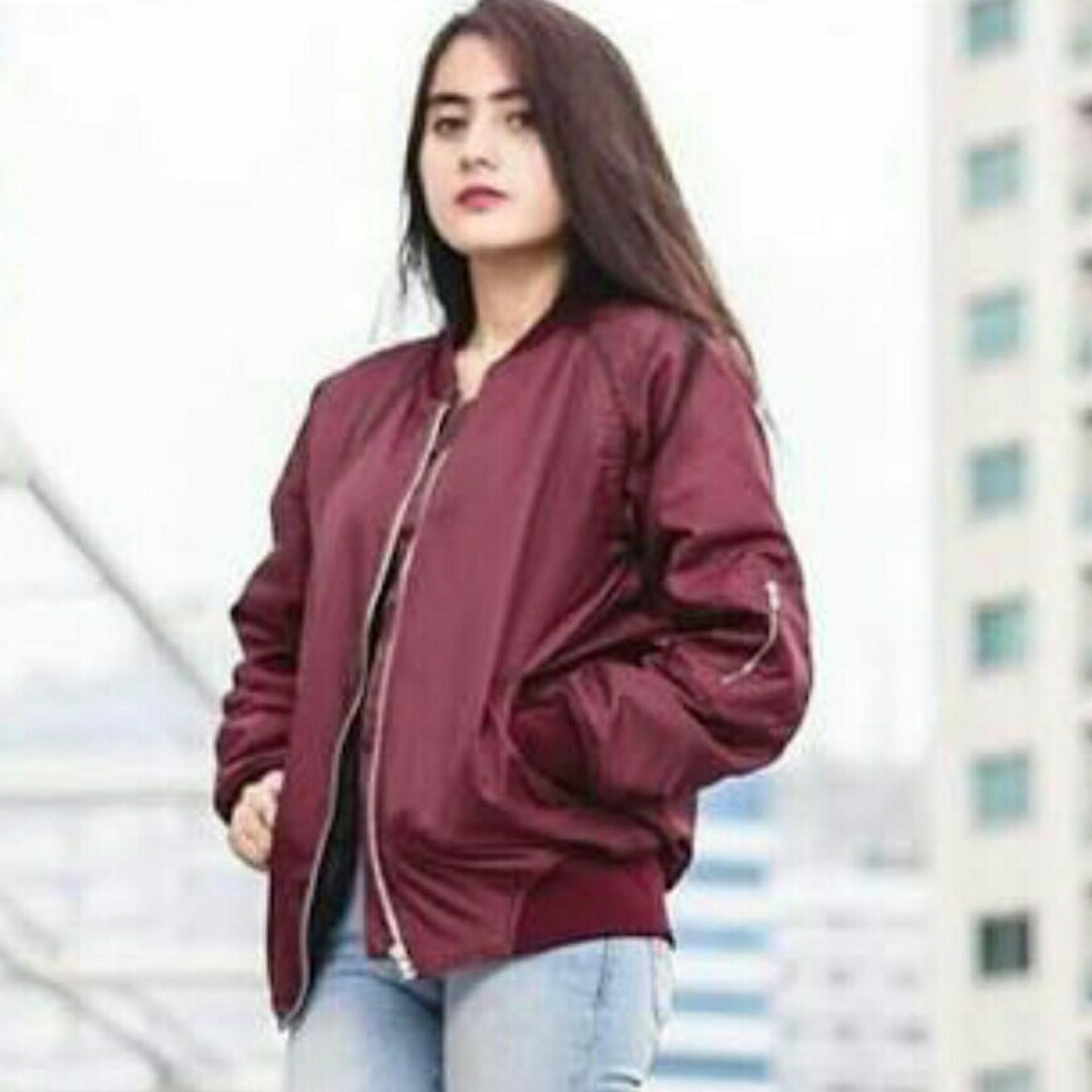 Beli Jaket Bomber My Wanita Slim Green Red Maroon Premium Murah Dengan Kartu Kredit